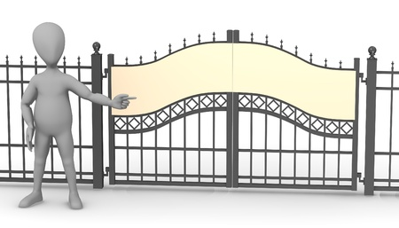 3d render of cartoon character with fence gate Stock Photo - 13742781