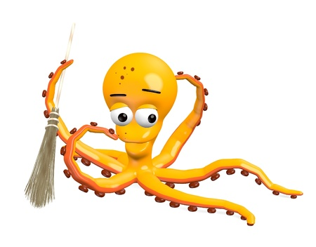 besom: 3d render of octopus character