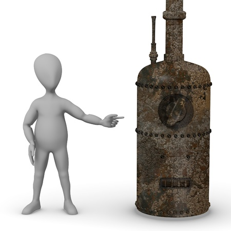 stockie: 3d render of cartoon character with old boiler