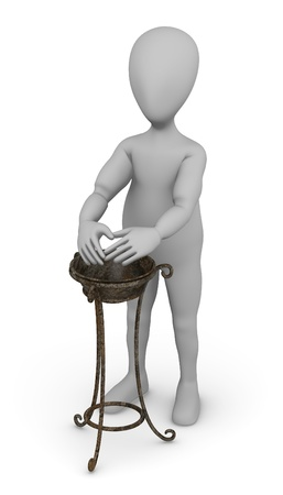 3d render of cartoon character with hand basin photo