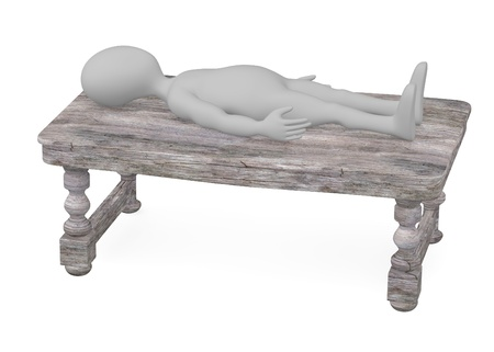 stockie: 3d render of cartoon character with old wooden table