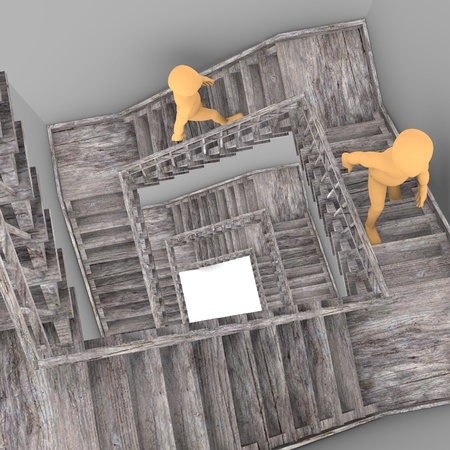 stockie: 3d render of cartoon character with stairs Stock Photo