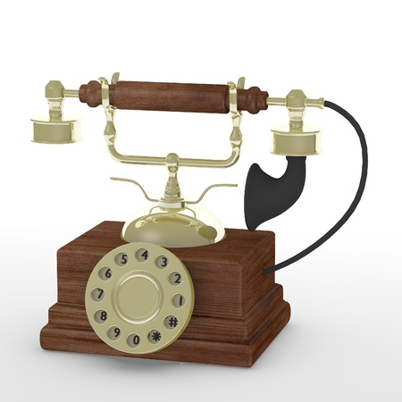 3d render of old telephone photo