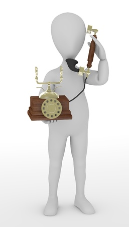 stockie: 3d render of cartoon character with old telephone
