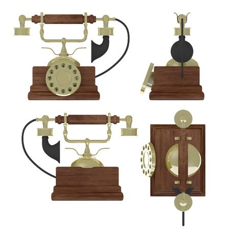 old telephone: 3d render of old telephone