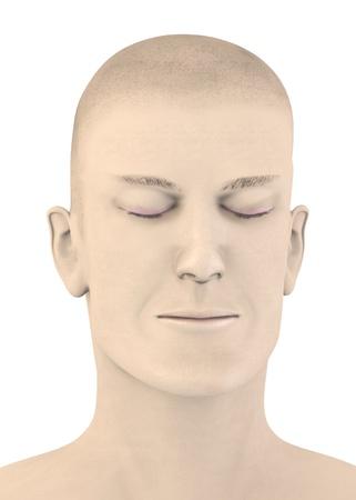3d render of artifical mala face - blink