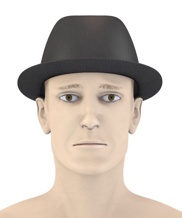 artifical: 3d render of artifical male face - sad Stock Photo