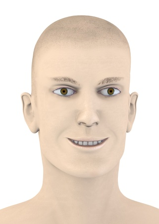 artifical: 3d render of artifical mala face - smile Stock Photo