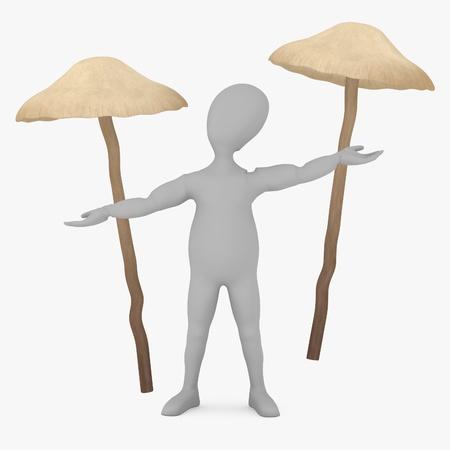 3d render of cartoon character with psilocybe bohemica (magic mushroom) photo