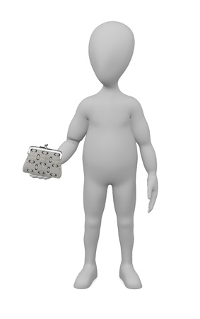 3d render of cartoon character with purse photo