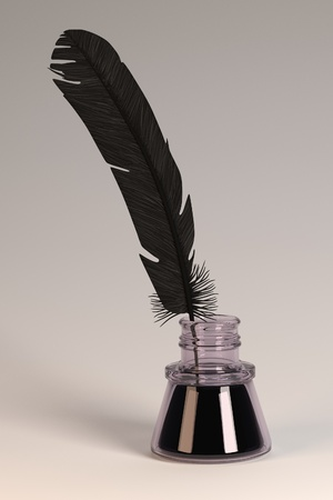 inkpot: 3d render of quill with inkpot
