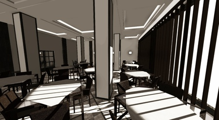 3d render of restaurant interior photo