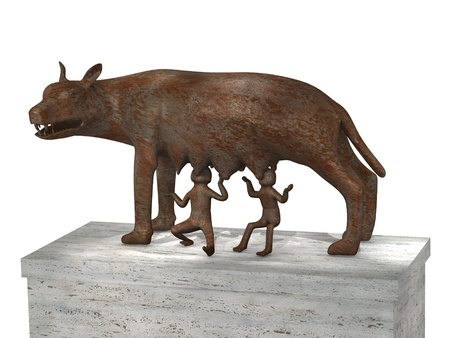 3d render of roman wolf with romulus and remus photo
