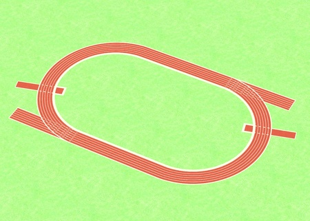 olympic stadium: 3d render of running way Stock Photo