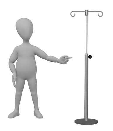 3d render of cartoon character with saline stand photo