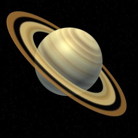 Rendu 3d de la planète Saturne