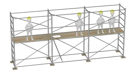 stockie: 3d render of cartoon character on scaffolding