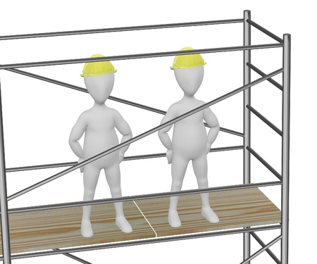 3d render of cartoon character on scaffolding Stock Photo - 13743464
