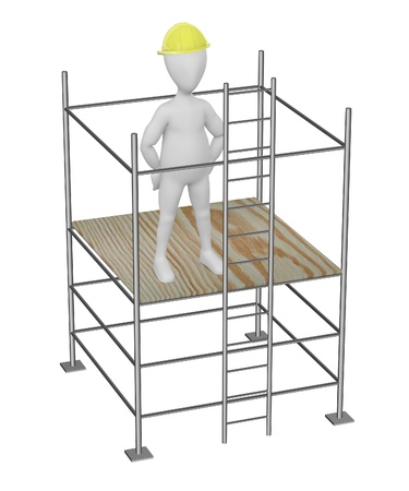 3d render of cartoon character on scaffolding photo