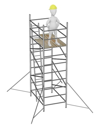 3d render of cartoon character on scaffolding