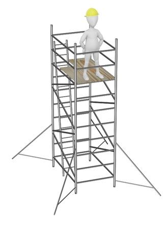 scaffold: 3d render of cartoon character on scaffolding