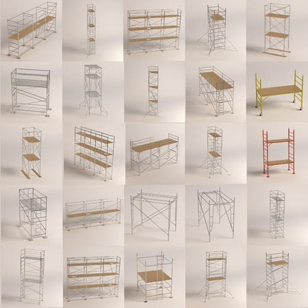 3d render of construction scaffolding photo