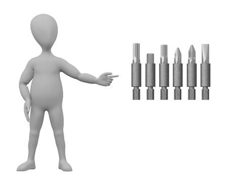 stockie: 3d render of cartoon character with screwdriver