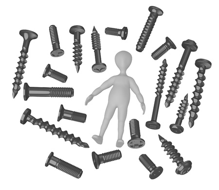 stockie: 3d render of cartoon character with screws