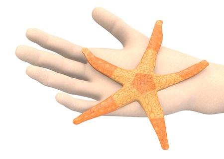seastar: 3d render of hand with seastar
