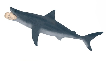 eaten: 3d render of artificial character eaten by shark Stock Photo