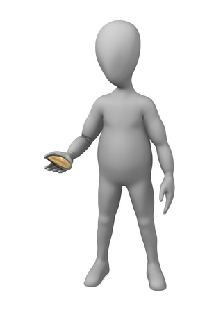 3d render of cartoon character with shell Stock Photo - 13739443
