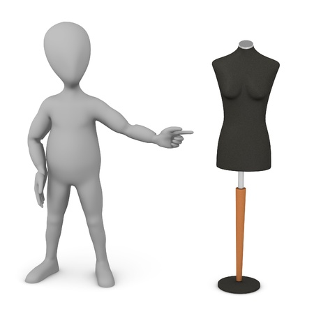 figourine: 3d render of cartoon character with shop dummy