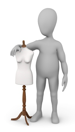 stockie: 3d render of cartoon character with shop dummy