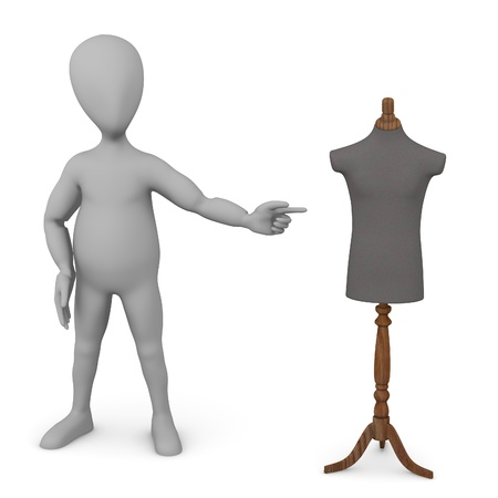 3d render of cartoon character with shop dummy photo