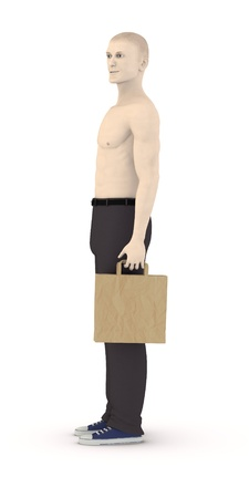 3d render of artifical character with shopping bag Stock Photo - 13740810