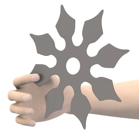 shuriken: 3d render of hand with shuriken