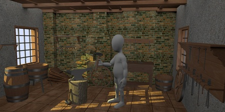 smith: 3d render of cartoon character in blacksmith Stock Photo