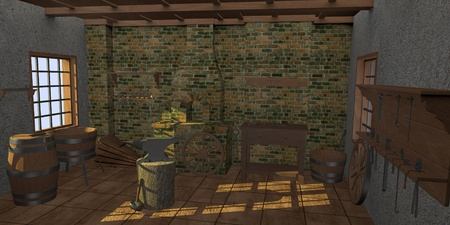 smith: 3d render of smithy interior Stock Photo