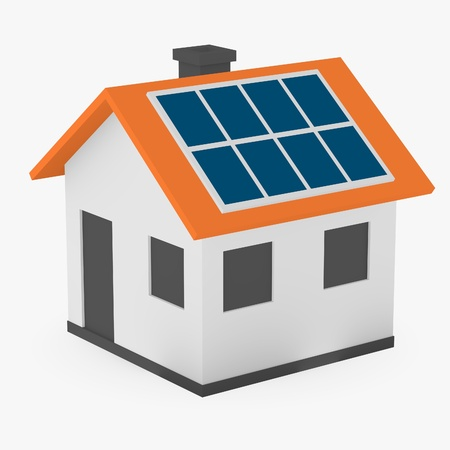 cartoon house: 3d render of cartoon house with solar panels