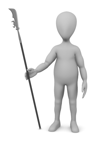 3d render of cartoon character with spear photo