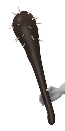 spiked: 3d render of cartoon character with spiked club Stock Photo