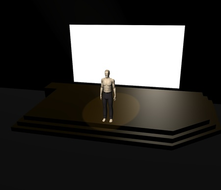 3d render of artificial character on stage
