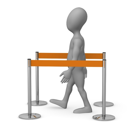 3d render of cartoon character with stand barriers photo