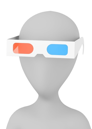 stereoscopic: 3d render of cartoon character with stereoscopic glasses