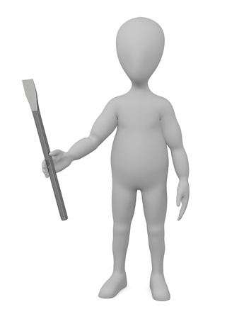 stonework: 3d render of cartoon character with stone tool