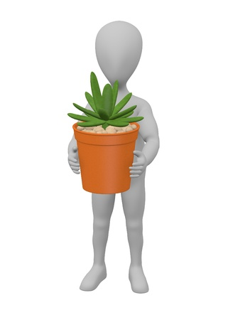 succulent: 3d render of cartoon character with succulent plant Stock Photo
