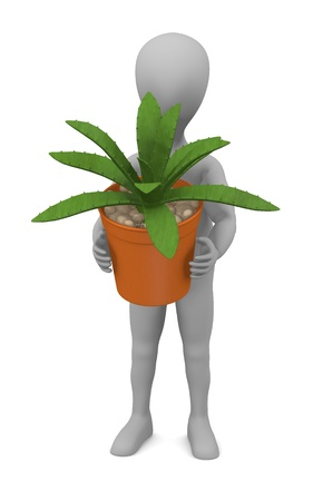 stockie: 3d render of cartoon character with succulent plant Stock Photo