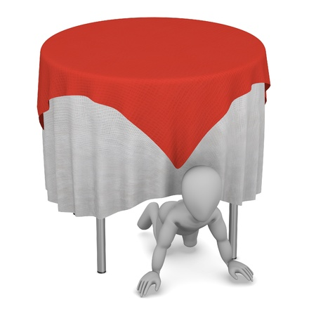 stockie: 3d render of cartoon character with table and tablecloth Stock Photo