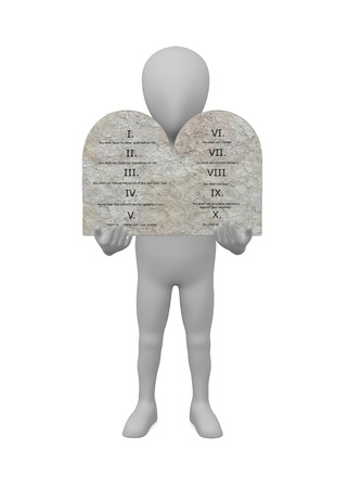 3d render of cartoon character with ten commandments photo