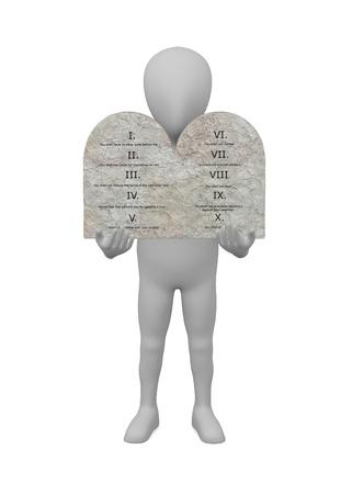 ten commandments: 3d render of cartoon character with ten commandments Stock Photo